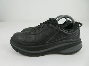 Hoka One One Bondi LTR Leather Black Running Athletic Shoes Womens Size 9.5 Wide