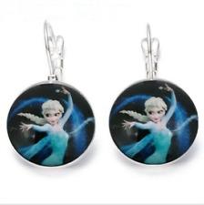 Earrings Glass Dome Tibetan Silver Cute Trendy Frozen 1 & 2 Royal Princess Elsa