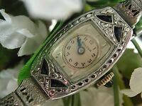 1930 Ladies Art Deco Sapphire Bulova Watch ~Miss America ~Filigree Band