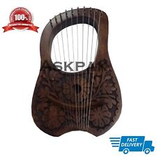Lyre Harp With Encraved Flower & 10 Metal Strings (With Free Bag & Key)