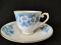 Jyoto China Tea Cup & Saucer Set  Blue & White Blossom Pattern - Occupied Japan