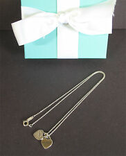 "Return to Tiffany Co Sterling Silver Double 2 Mini Heart Necklace 16"" Box"