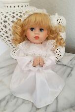 Vintage Porcelain Praying Doll Kneeling Blonde Girl Blue Eyes White Satin Dress