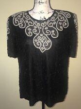 Royal Feelings Elegant Evening Top Blouse Beaded Silk Black Short Sleeve Size L
