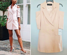 RARE ZARA  NUDE PINK BLAZER-STYLE DRESS DOUBLE BREASTED JACKET L