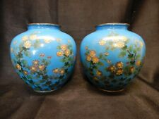 ANTIQUE JAPANESE MEIJI PERIOD SILVER WIRE CLOISONNE VASES