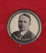 "1920  JAMES COX for president picture  1 1/4"" campaign pin"