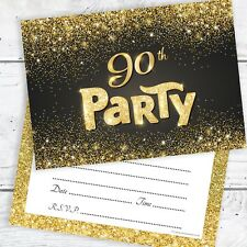 90th Birthday Invitations Black And Gold Glitter Effect With Envelopes Pack 10