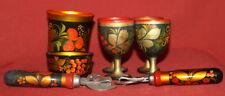 Vintage Russian Khokhloma Hand Painted Set 4 Goblets Mug Bowl 2 Can Openers