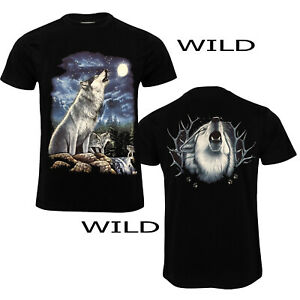 Men Howling Wolf Native American Wolves  T-Shirt Both Side Print 100% cotton