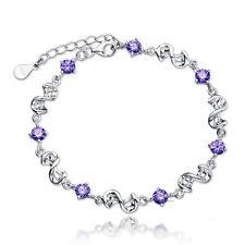 Women's 925 Sterling Silver AAA Amethyst Bracelet Jewelry Christmas Gift Purple