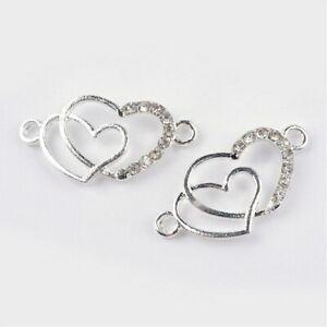 10 pcs Alloy  Rhinestone Heart Charm Pedant For Jewelry Making Bracelet
