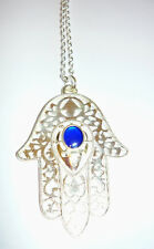 Beautiful large silver hamsa hand with colbolt blue coloured inset necklace 32""