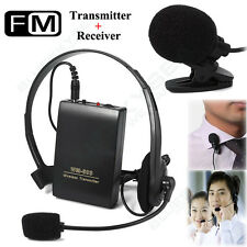 US! Portable Wireless Microphone w/ Clip-on microphone & cordless headset mic