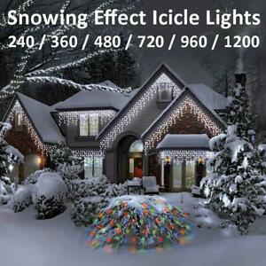 LED Icicle Snowing Effect Lights Wedding Party Xmas Christmas Memory Timer BNIB