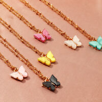 Acrylic Butterfly Pendant Necklace Clavicle Twist Chain Necklaces For Women Girl