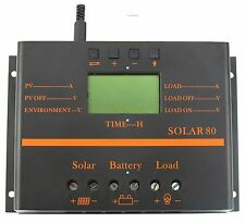 80A Solar Panel Charge Controller Battery Regulator 12V/24V Auto Switch Timer OP