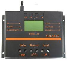 80A LCD Solar Panel Battery Regulator Charge Discharge Controller 12V 24V &USB M