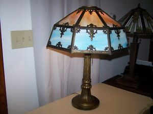 Antique SLAG GLASS  8 PANELED TABLE LAMP Signed