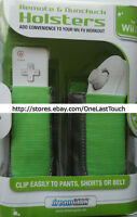 DREAMGEAR Remote+Nunchuck HOLSTERS for WII FIT Green+Grey FLEXIBLE DESIGN New!