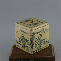 CHINESE OLD MARKED BLUE AND WHITE FIGURE PATTERN SQUARE PORCELAIN LID TEA JAR