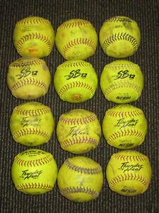 """One Dozen Used 12"""" Softballs Thunder Heat, SB12"""
