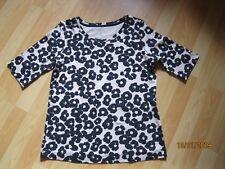 Marc Cain Shirt Rippenshirt Baumwolle schwarz beige Gr. N6 (42) NEU