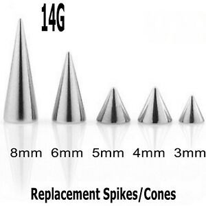 Threaded Spikes Cones 5 Spare Rook Snug Nipple Helix Lip Piercing Mix Sizes 14g