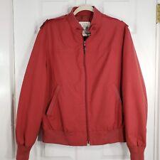 LONDON FOG Siz 42 Large/XL Mens Vintage Red Zip Bomber Jacket hipster Rockabilly