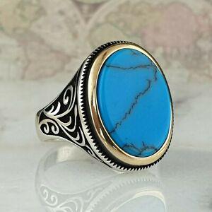 Solide 925 Sterling Silber Man Ring Türkis Edelstein Handgefertigt Ottomane 13.
