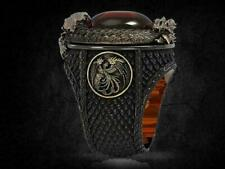Men Party Ruby Ring Gift Size 10 Fashion Dragon Two Tone 925 Silver Rings for