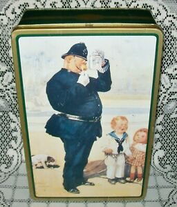 VINTAGE 'A GREAT CATCH' by LAWSON WOOD BISCUIT TIN empty