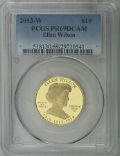2013 W $10 Ellen Wilson 1st Spouse 1/2 oz 99.99% Pure Gold Proof PCGS PR69DCAM