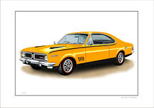 HOLDEN  70 '  HG  350  GTS MONARO   LIMITED EDITION CAR PRINT AUTOMOTIVE DRAWING