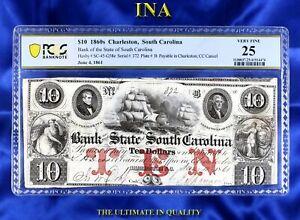 INA Charleston Bank of the State of South Carolina $10 PCGS VF-25 CC Cancel