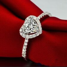 Gift for Her Women's Love Heart-shaped Ring Faux Diamond Silver Engagement Gift