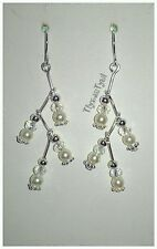 Pearl & Crystal Zig~Zag Dangle Earrings..Silver Plated.