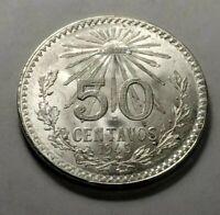 1945 Mexico Silver 50 Centavos KM 447 BU Brilliant Uncirculated