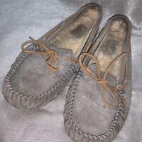 UGG Gray Leather Mocassins Sheepskin Lining