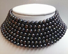 AAA+ Beautiful 5-6MM natural black freshwater pearl necklace long 100 inches