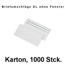 Briefumschläge DIN Lang, selbstklebend, ohne Fenster, weiß, 1000 Stck Karton