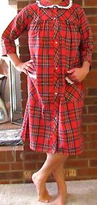 """Robe, Duster,  44"""" Cotton Flannel Snap Closure """"Made in USA"""""""