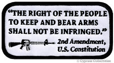 2nd Amendment Patch iron-on Right To Bear Arms embroidered Gun Rights White