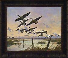 CANADA GEESE by Les Kouba 20x24 FRAMED PRINT Flying Lake Farm Fence Goose