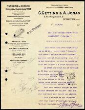 █ Facture 1913 G.GETTING et A.JONAS à St Denis Tannerie Courroies Transmission █