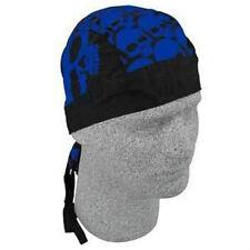 Royal Blue Big Head Skulls Durag Headwrap Biker Bandanna Flydanna Free Shipping