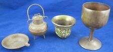 Vintage Lot BRASS COLLECTION Chalice Pot Hunting Vessel Pan Patina Rustic Patina