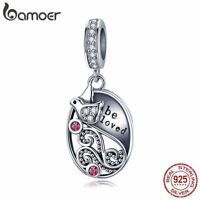 BAMOER S925 Sterling Silver Charm Be Love Dangle With CZ Fit bracelets jewelry
