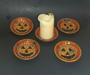 Halloween Jack O Lantern Mosaic Glass Pillar Candle Holder Bottom Plate Orange