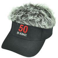50 Is King Flair Faux Fur Hair Grey Black Adjustable  Hat Visor Sun Cap